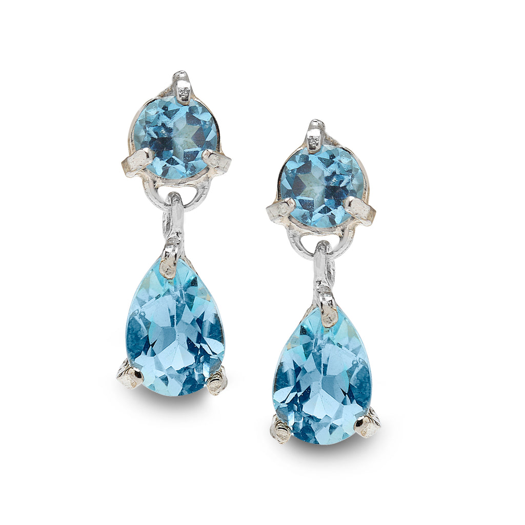 925 Silver Earrings with Blue Topaz Gemstones