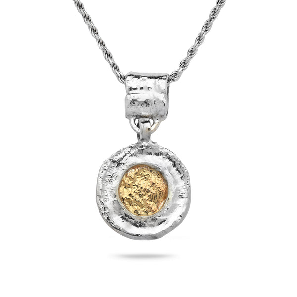 925 Silver & 9K Gold Pendant with Rope Chain 18