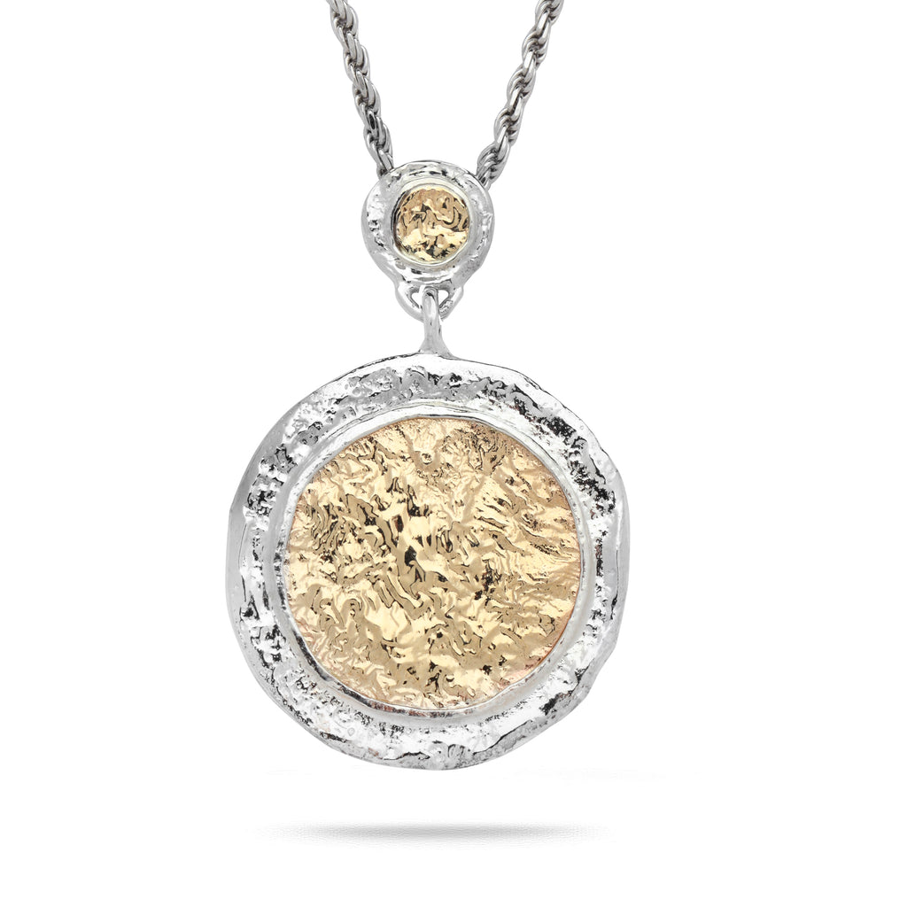 925 Silver & 9K Gold Pendant with Rope Chain 20""