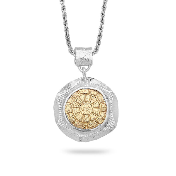 925 silver & 9k gold Pendant with rope chain 18 inch