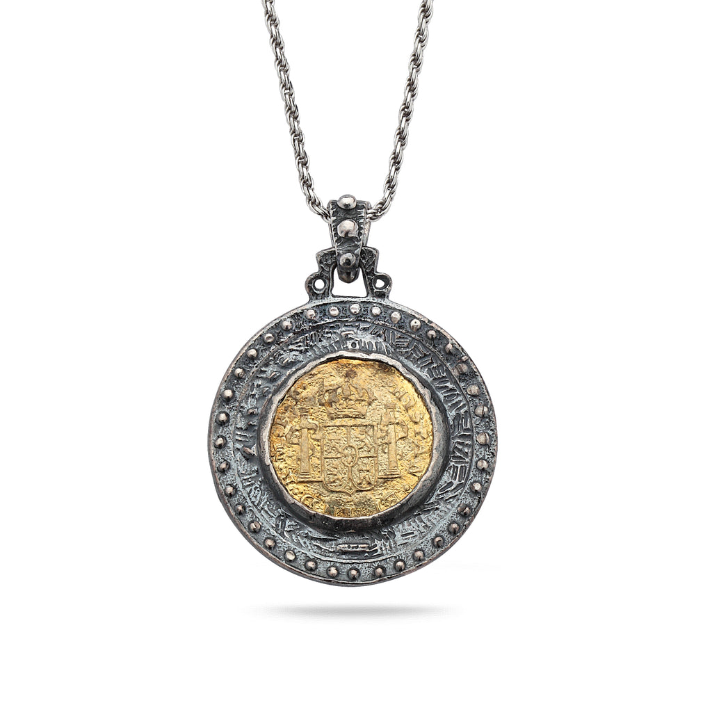 925 Oxidized Silver Coin Pendant with Brass and Chain 20""