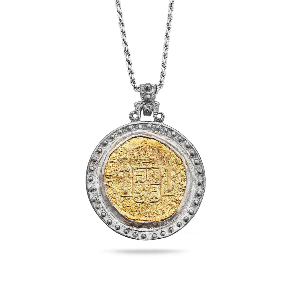 925 Silver Coin Pendant with Brass and Chain 18""