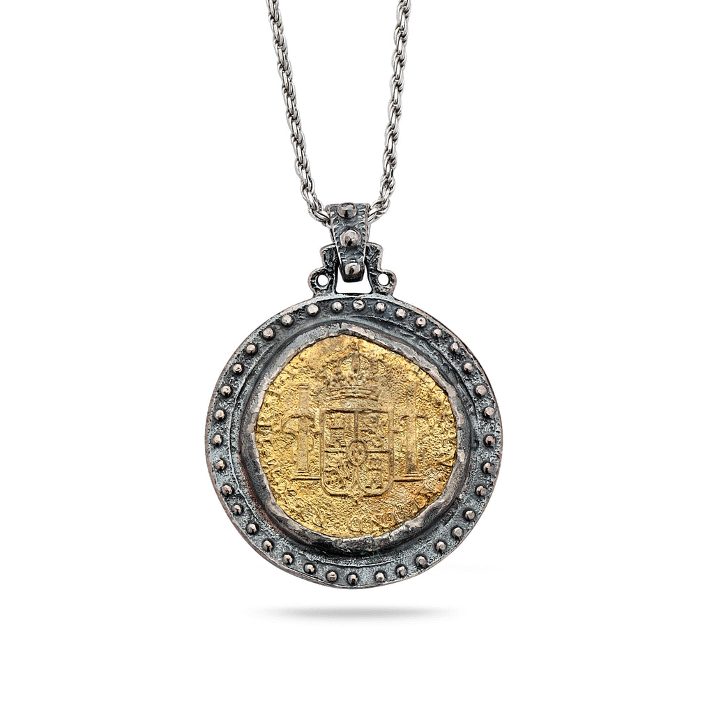 925 Oxidized Silver Coin Pendant with Brass and Chain 18""