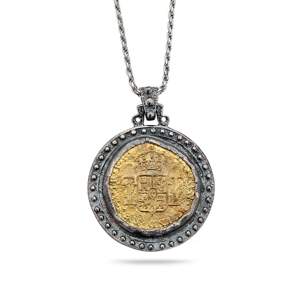 925 Oxidized Silver Coin Pendant with Brass and Chain 18