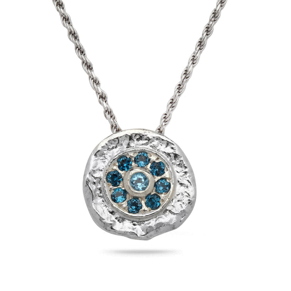 925 silver Pendant & rope chain18 inch with Blue Topaz Gem stone