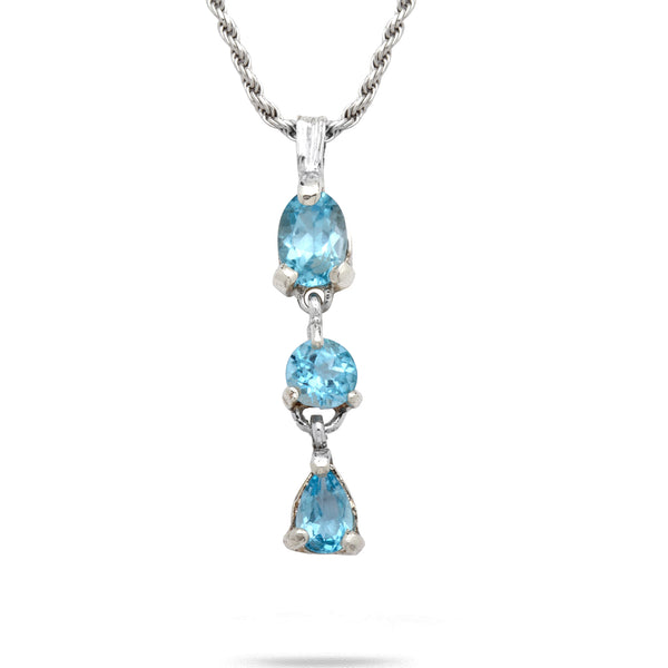 925 silver Pendant & rope chain 18 inch with Blue Topaz Gem stone