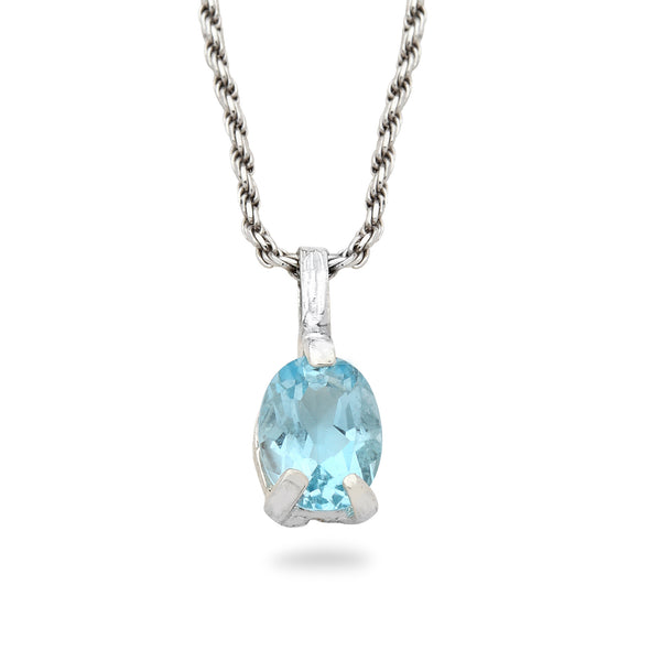 925 silver Pendant with Blue topaz Gem stone and 20 inch chain