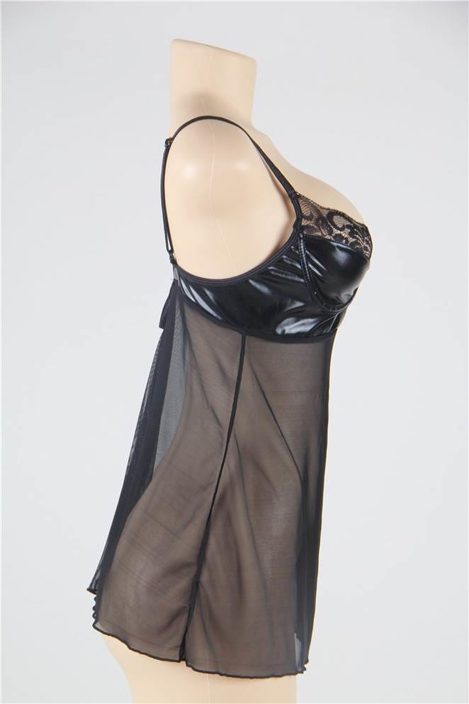 Black Plus Size Transparent Babydoll With Leather Bra