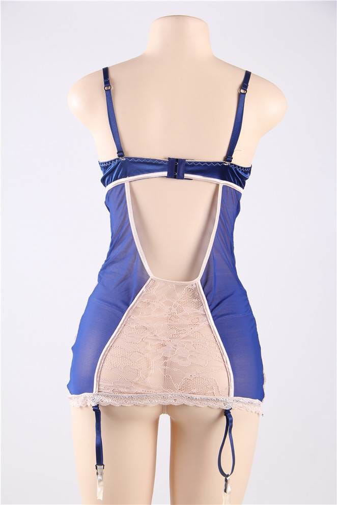 Sexy Navy And Beige Lace Satin Open Back Chemise
