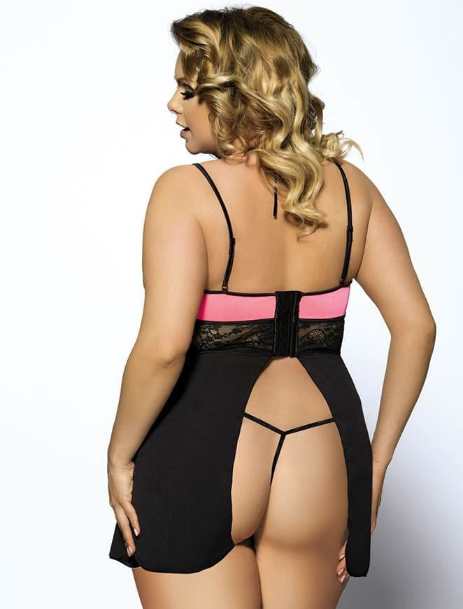 Pink Plus Size Adult Lingerie With Thong
