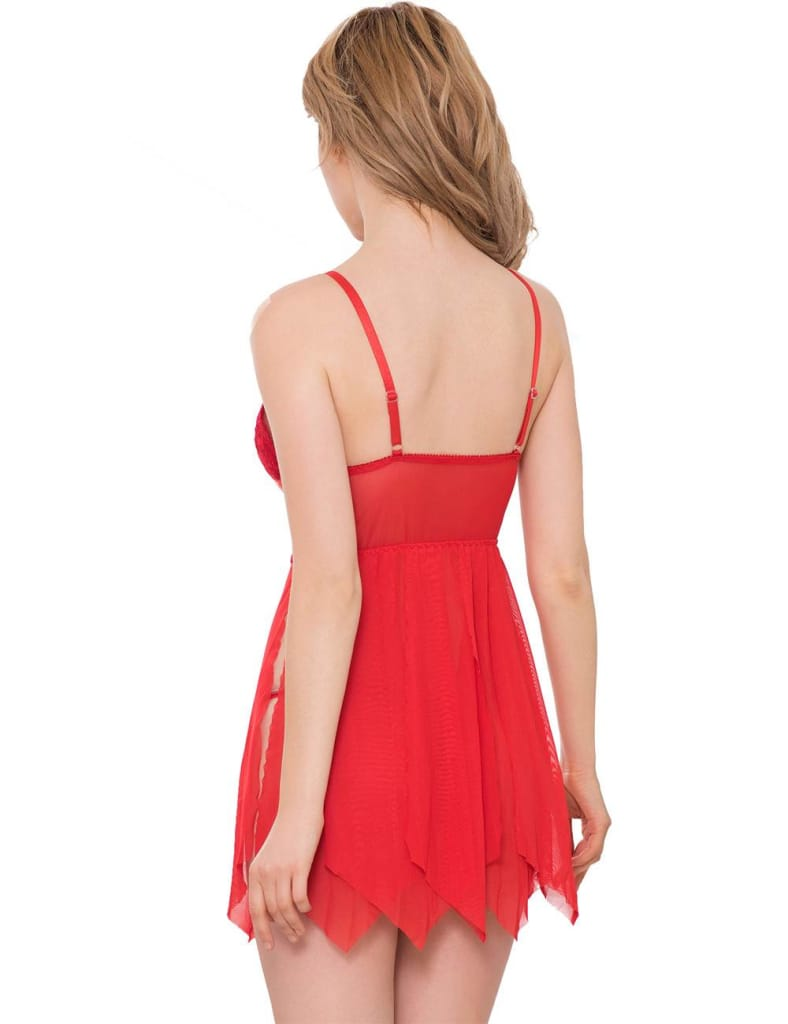 Red Sexy Draping Mesh and Lace Babydoll Set