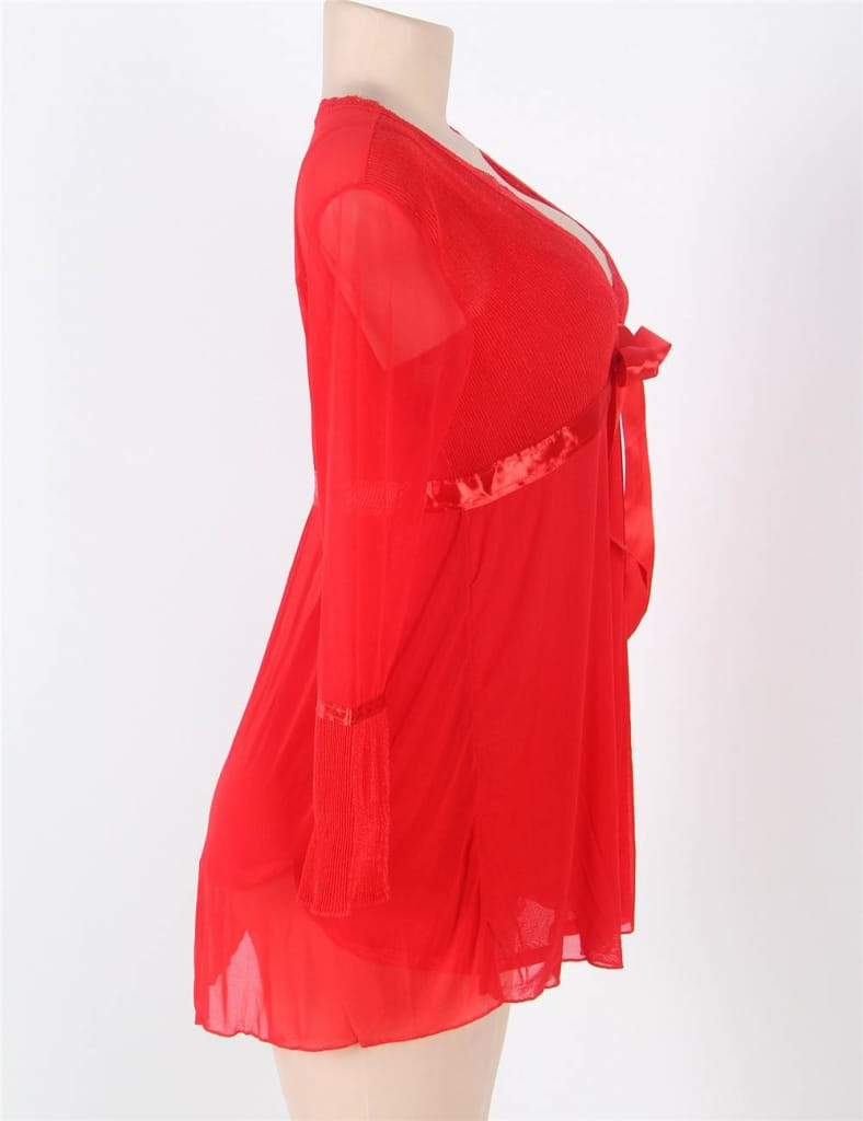 Long Sleeve Red Lace Trim Robe With Thong