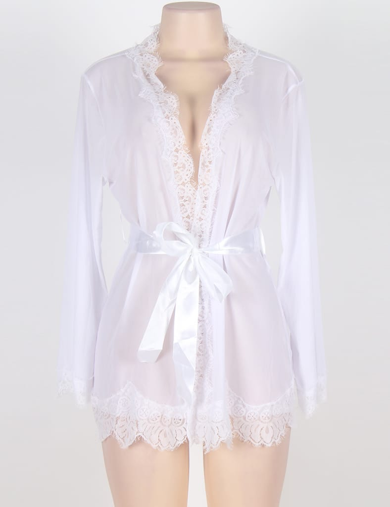 Sexy White Lace Trim Robe With Thong