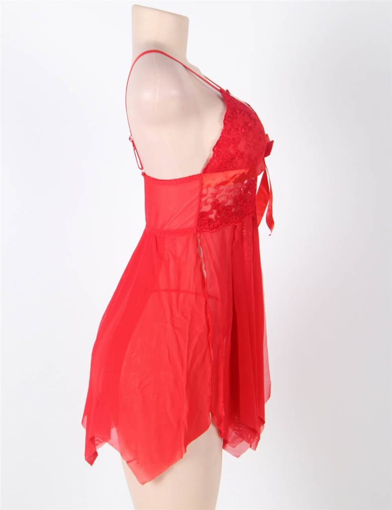 Red Flirty Lace and Microfiber Plus Size Babydoll