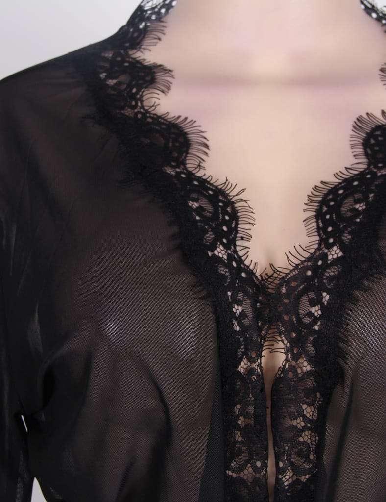 Plus Size Black Lace Trim Robe With Thong