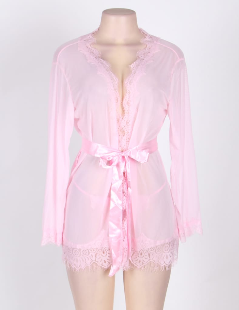 Sexy Pink Sheer Lace Trim Robe With G-String