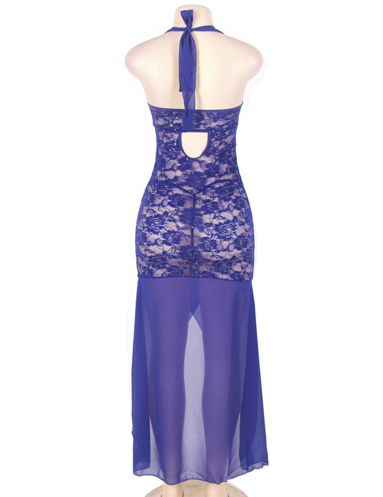 Blue Halter Lace And Mesh Plus Size Babydoll Dress