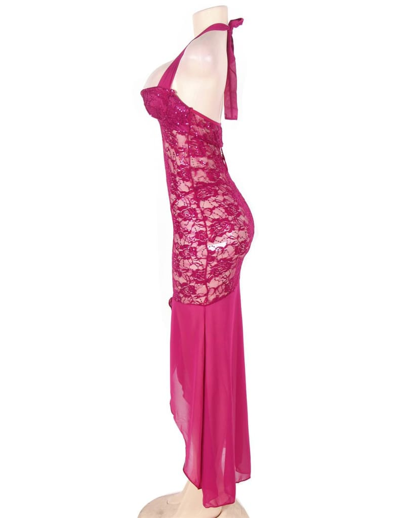 Plus Size Rosy Halter Long Mesh And Lace Dress