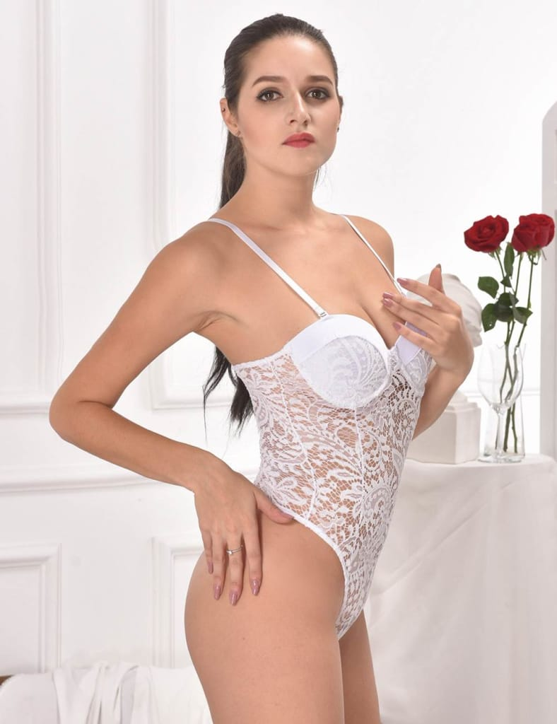 White Push-up Cup Lace Teddy