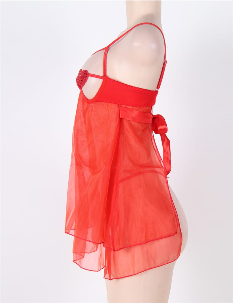 Red Open Bra Sexy Heart Attack Babydoll
