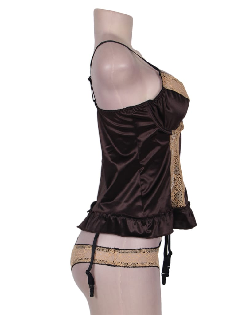 Plus Size Deluxe Satin Lace Stitching Babydoll