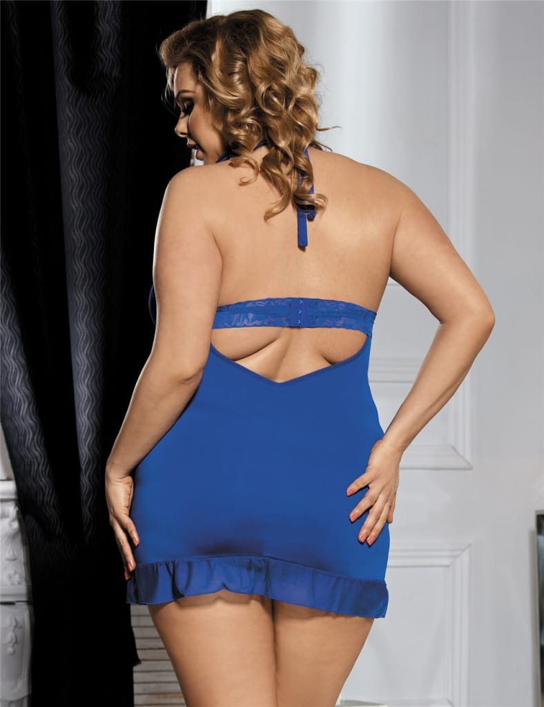 Halter Queen Size Blue Lace Babydoll