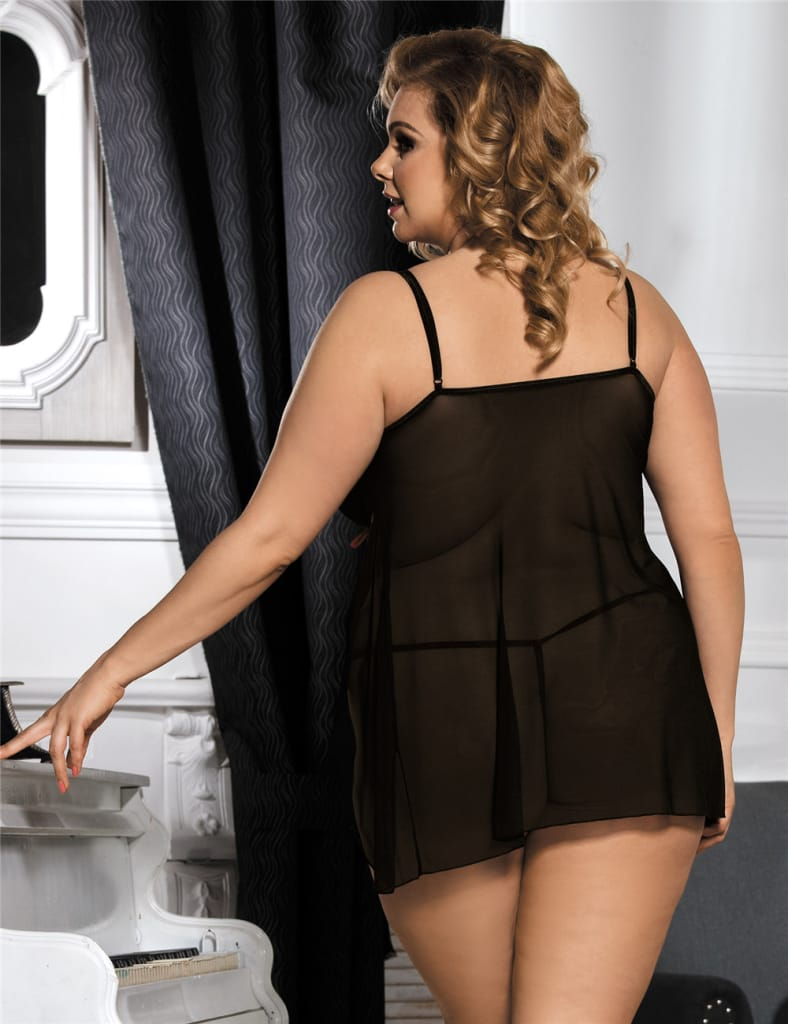 Plus Size Furcate Babydoll With Rose G String