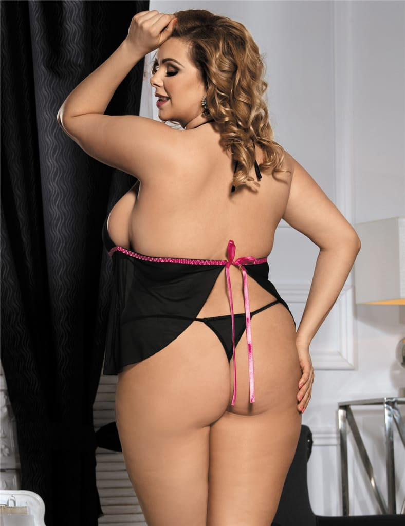 Plus Size Mini Length Babydoll With G String