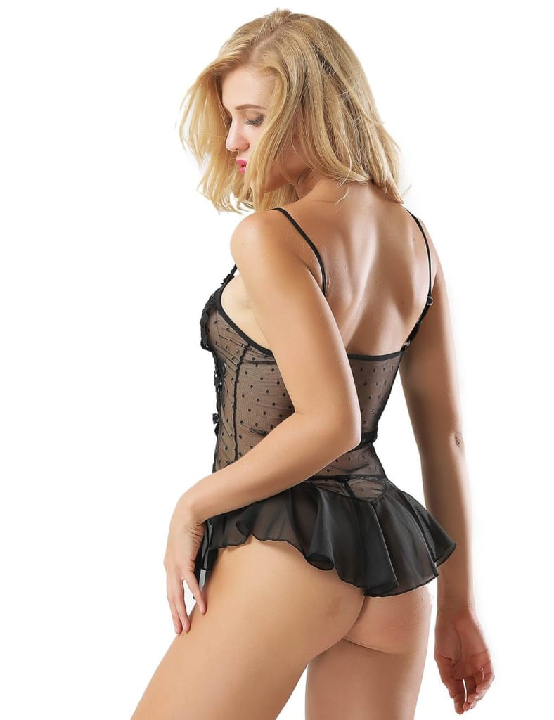 Black Stereoscopic Flower Lace Sexy Babydoll