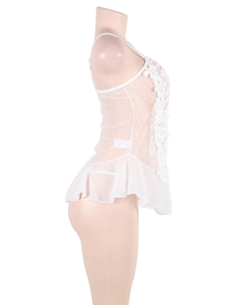 Dotted White Stereoscopic Flower Lace Babydoll
