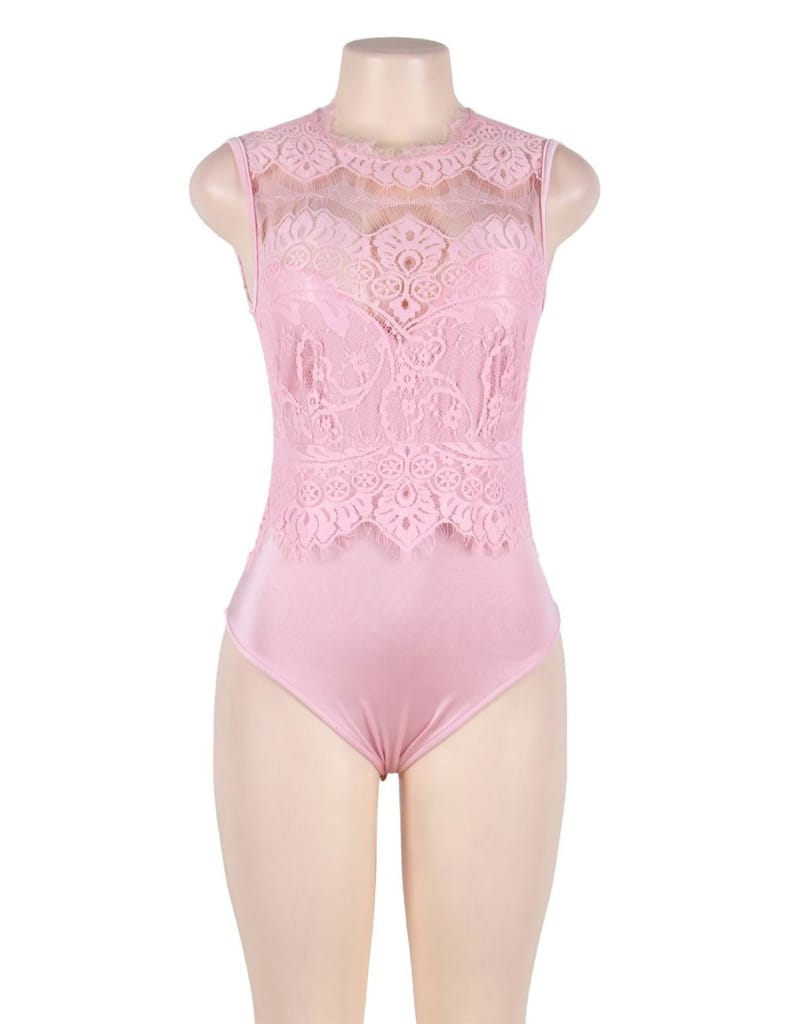 Plus Size Pink Floral Embroidery Lace Sexy Teddy