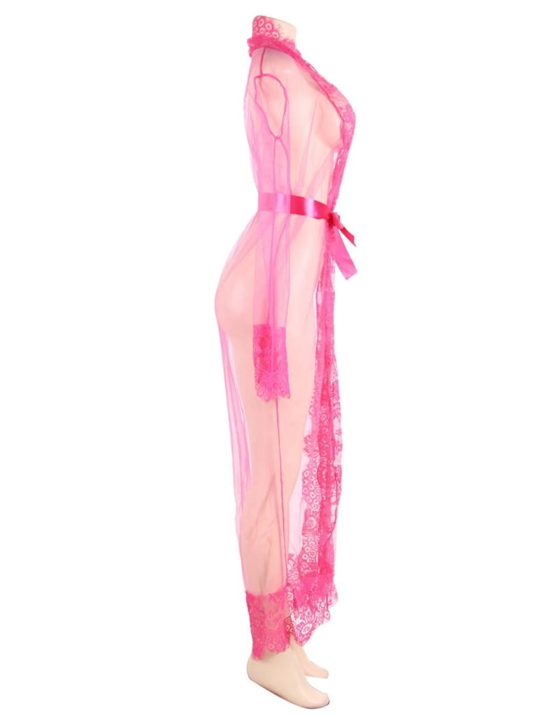 Rose Red Delicate Lace Long Sleepwear Gown