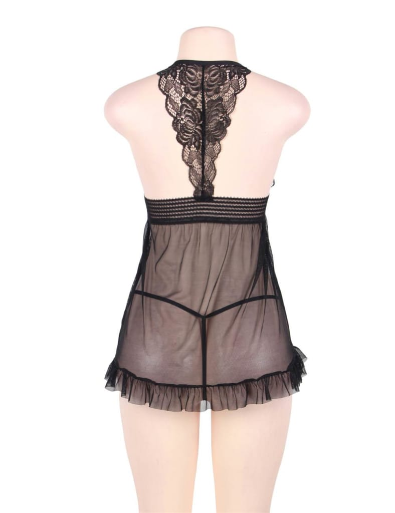 Big Size Sheer Stretch Lace and Net Open Back Babydoll