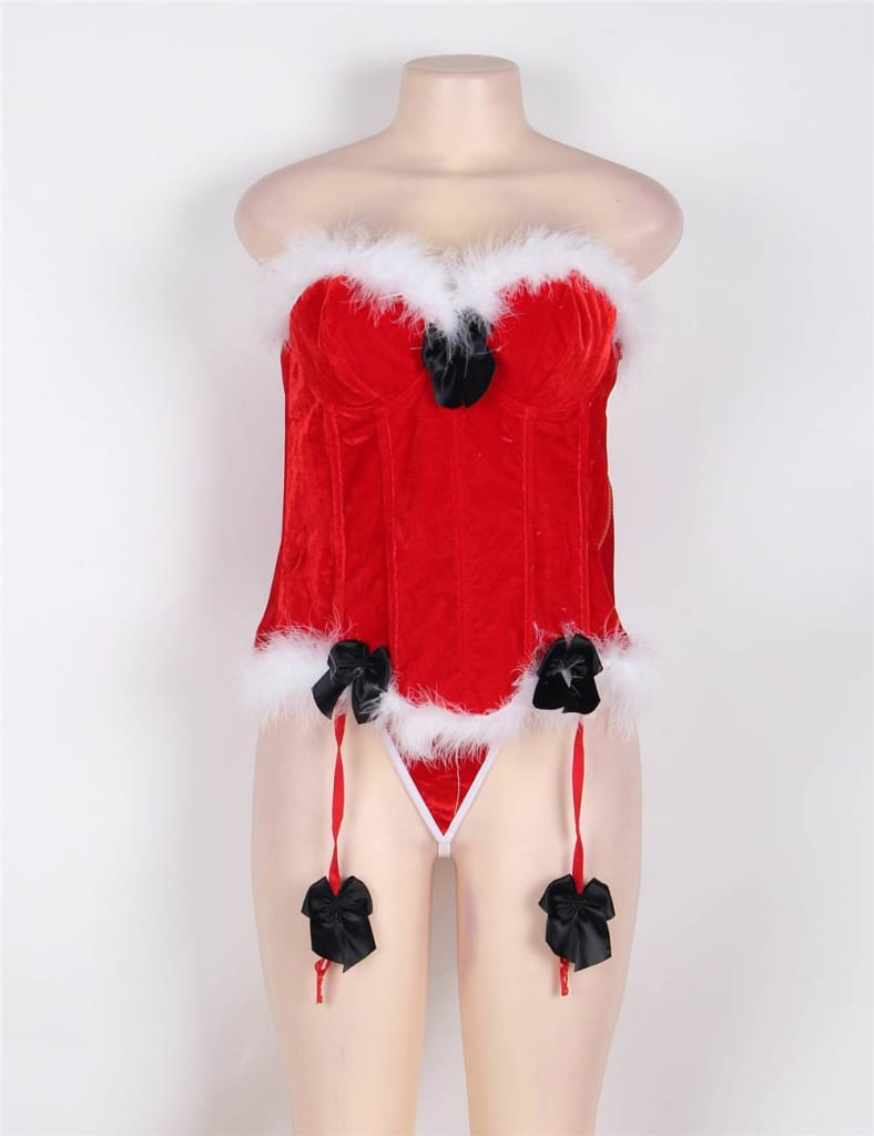 Sexy Red Christmas Corset with Thong