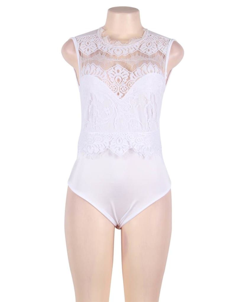 High Neck White Lace Cut Out Back Sexy Teddy
