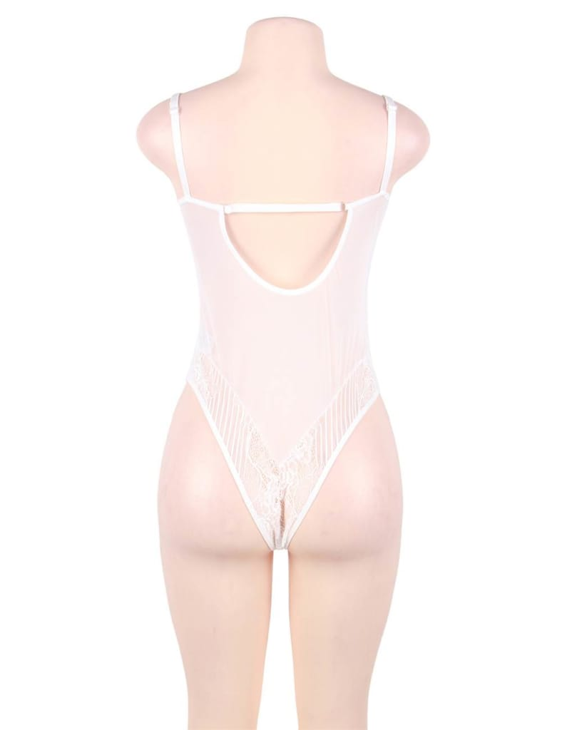 White Glamour Hollywood Sheer Lace Underwire Teddy