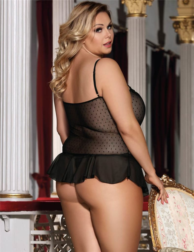 Plus Flirty Lace Babydoll Lingerie with G-String