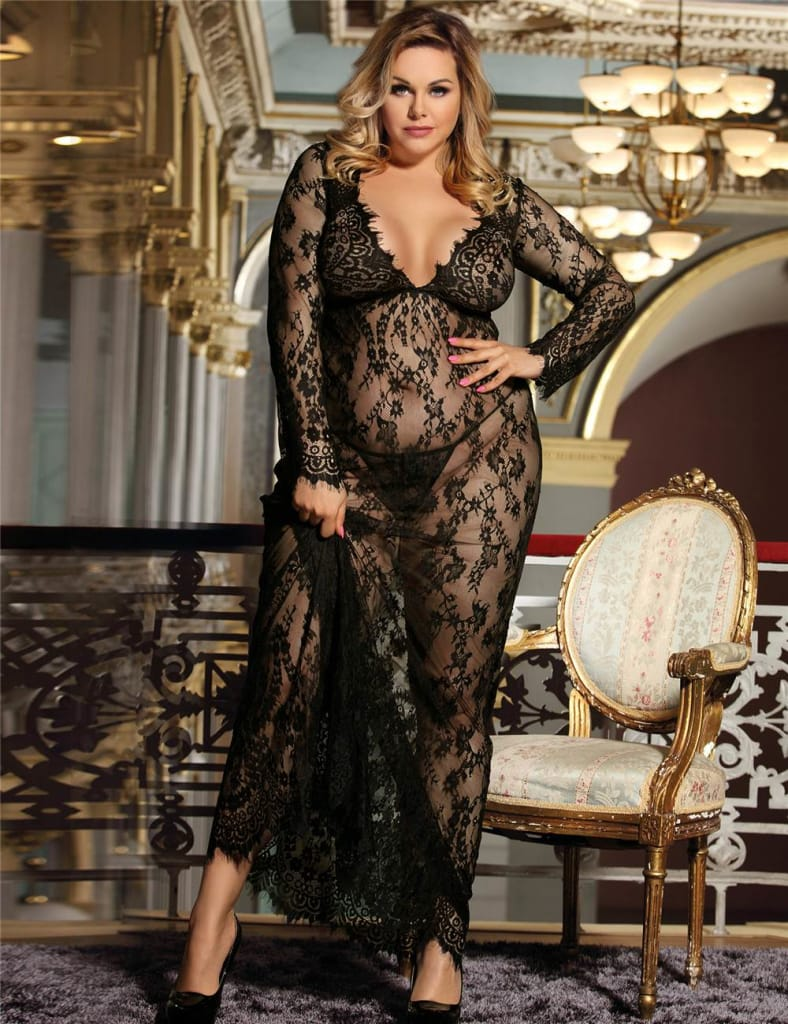 Plus Size Sheer Lace Kaftan Robe with Thong