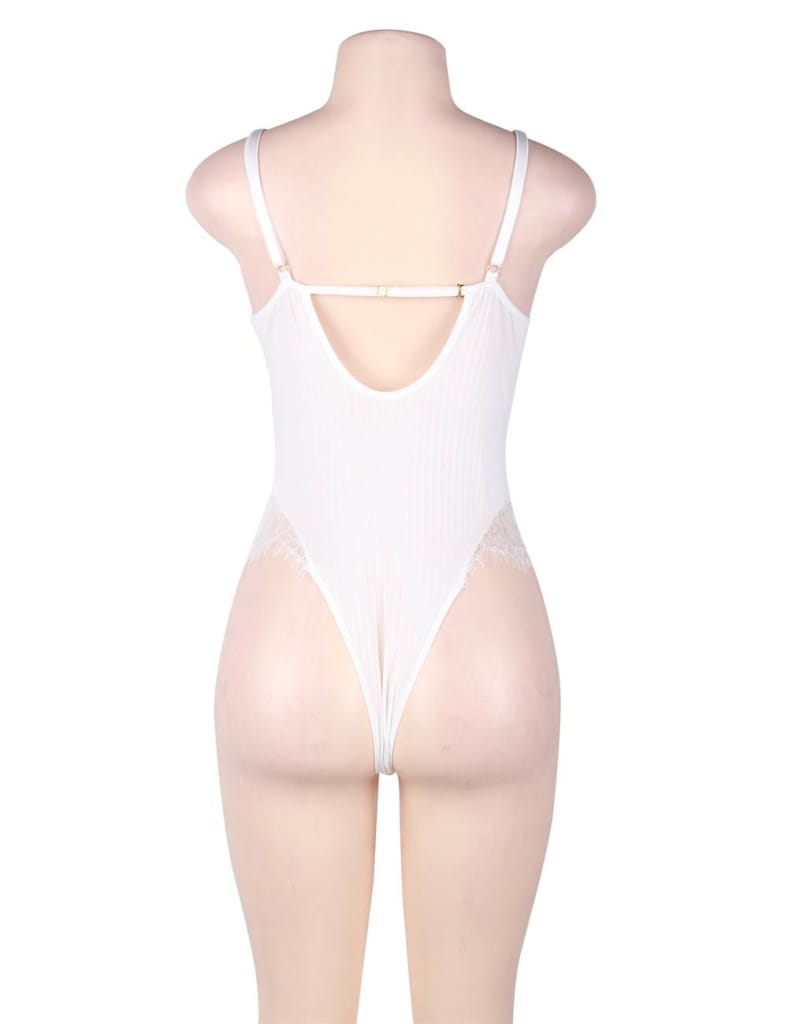 Floral Appliques Embroidery Mesh Underwire Teddy Bodysuit