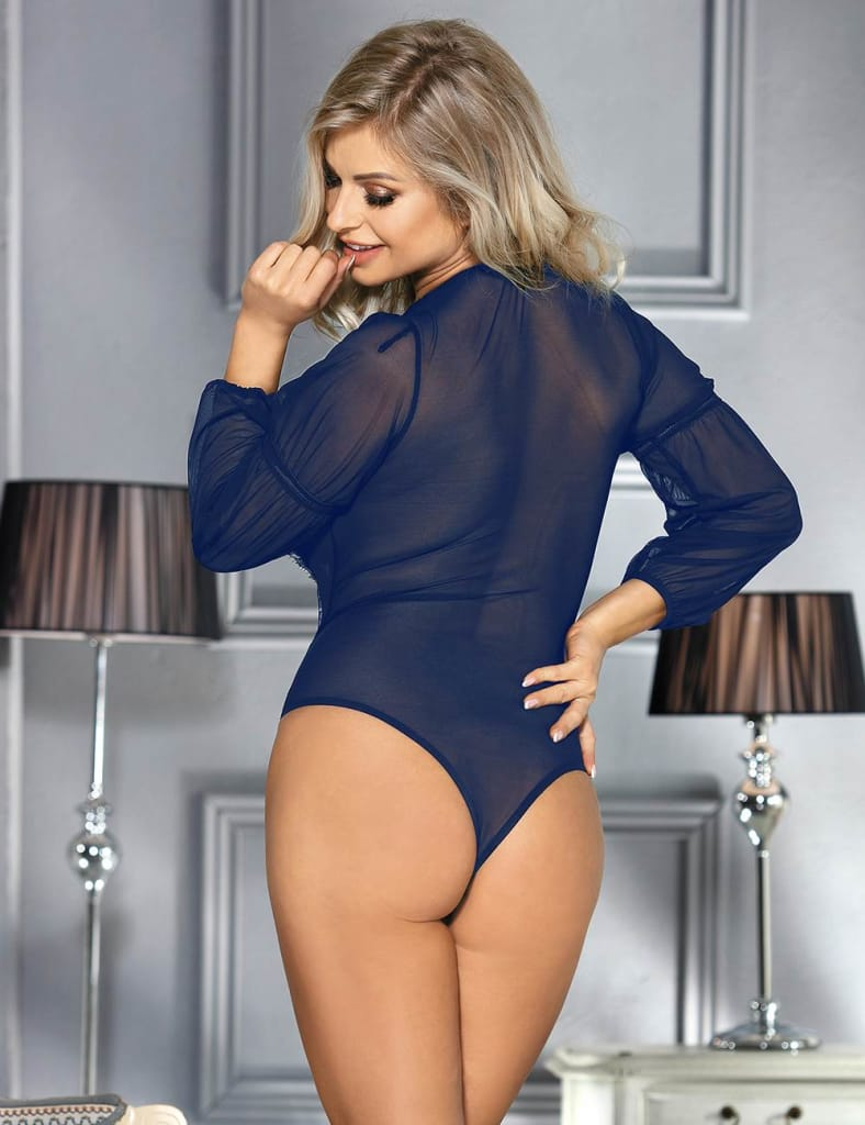 Exquisite Blue Lace Long Sleeve Teddy