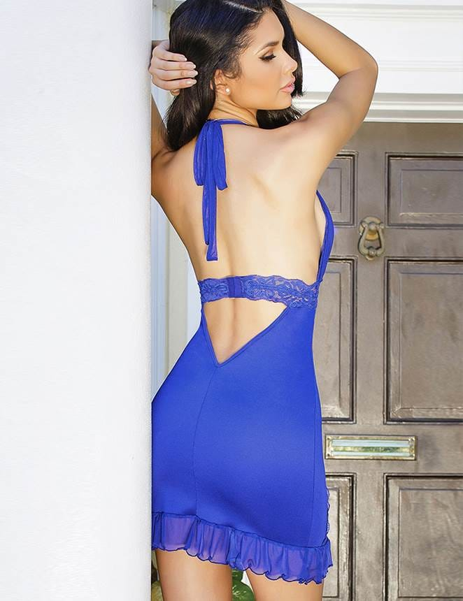 Sexy Knee-length Blue Lace Babydoll