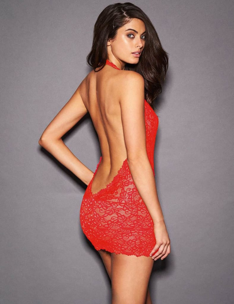 Valentine's Day Red lace Deep V Collar Chemise Dress