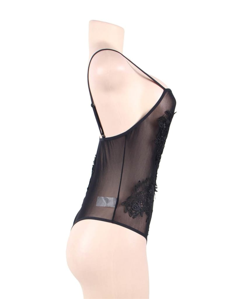 Black Floral Embroidered Sheer Mesh Teddy