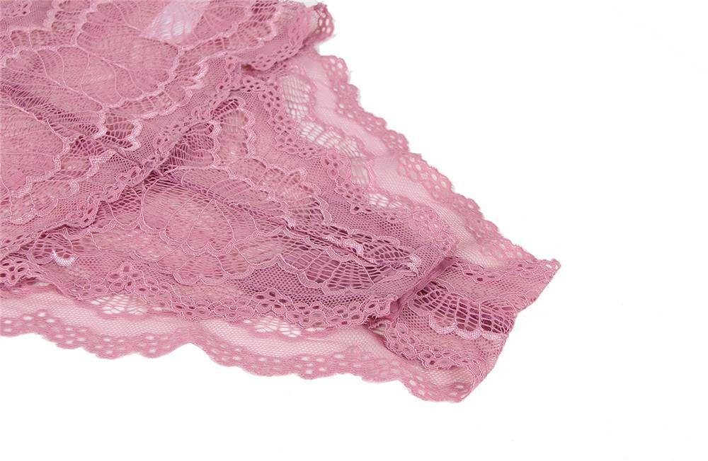 Sexy Pink Chest Ribbon Adjusting Lace Teddy