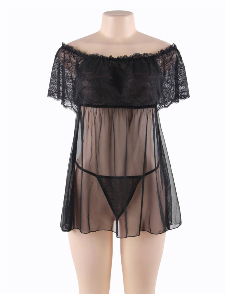 Valentine's Day Style Black Off-Shoulder Lace Sexy Babydoll