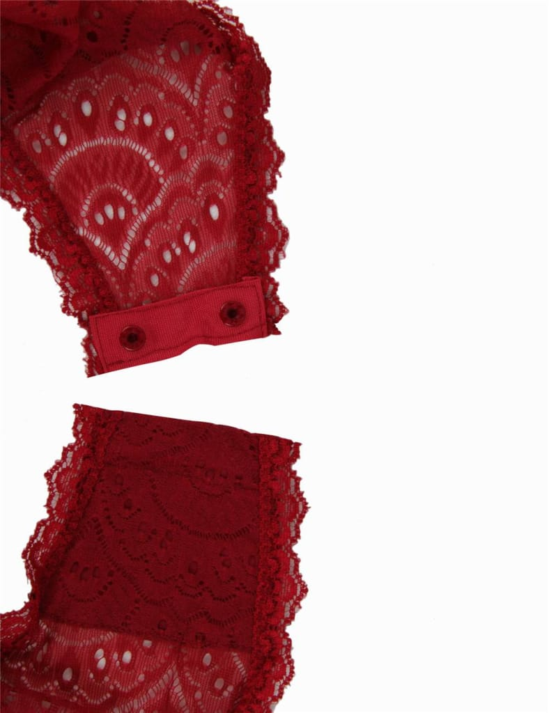 Wine Red Exquisite Peacock pattern Lace Teddy With Steel