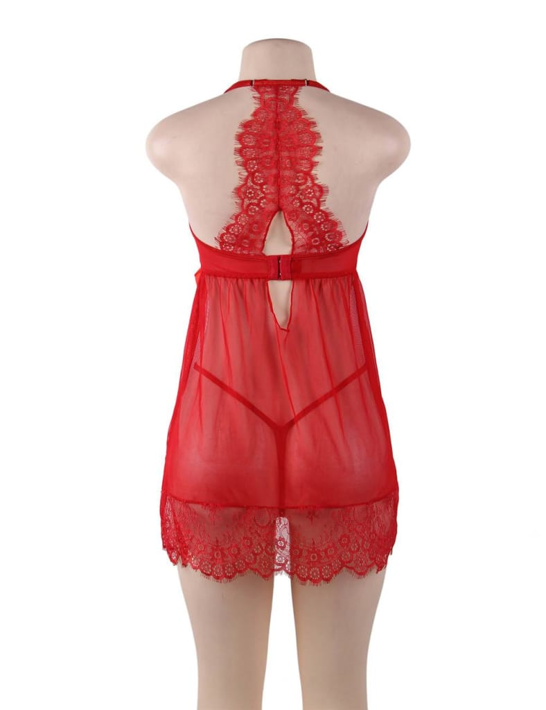 Sexy Red Sheer Floral Eyelash Trim Lace Babydoll Set With