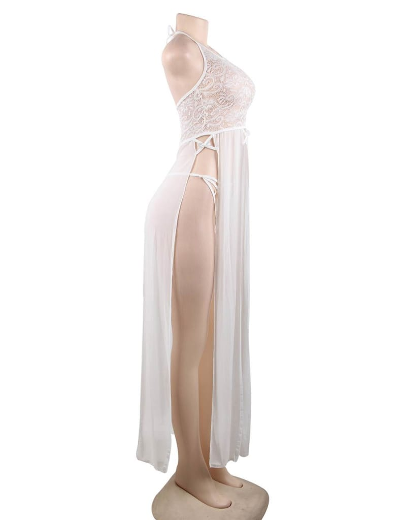 Elegant White Hollow Out Lace Sexy Gown