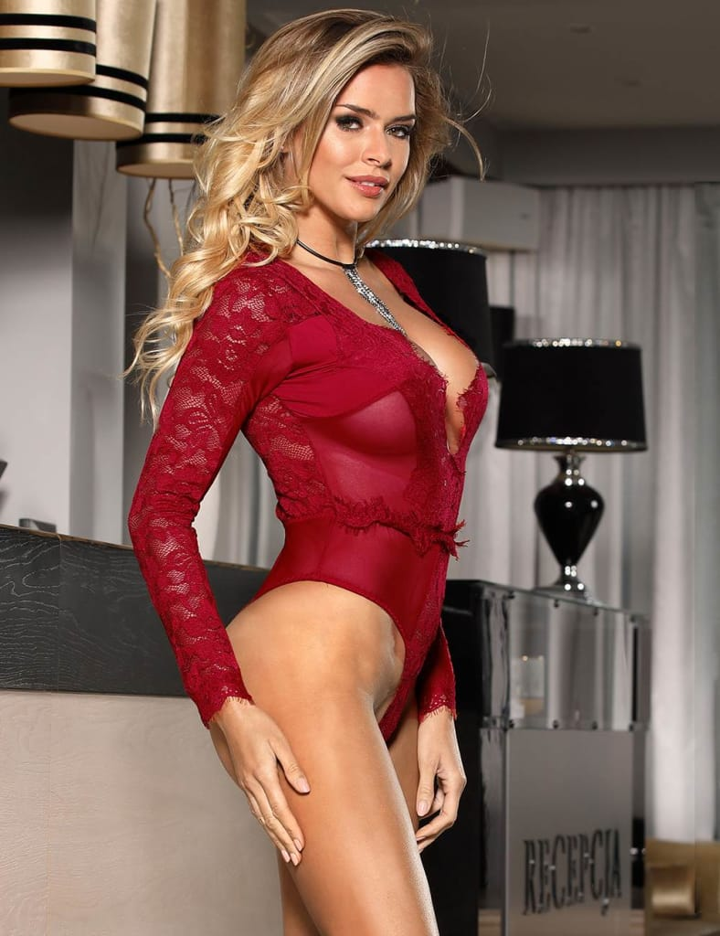 Red Eyelashes Lace Open Chest Long Sleeve Teddy