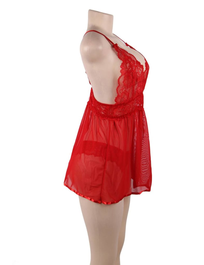 Red Elegant Backless Fly Away Babydoll